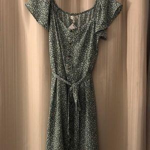 Long green button up dress